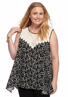 Living Doll Plus Size Printed Crochet Bib Top