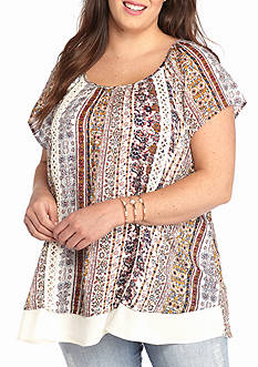 Living Doll Plus Size Crochet Trim Printed Top