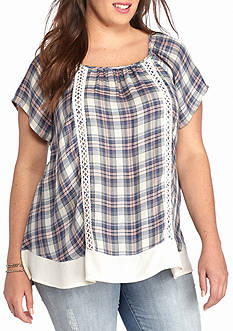 Living Doll Plus Size Crochet Trim Plaid Top