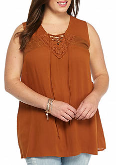 Living Doll Plus Size Lace-Up Tank