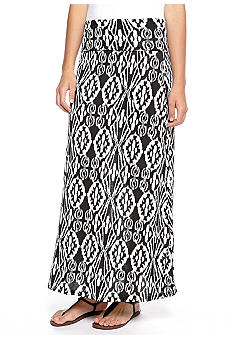 Living Doll Ikat Printed Maxi Skirt