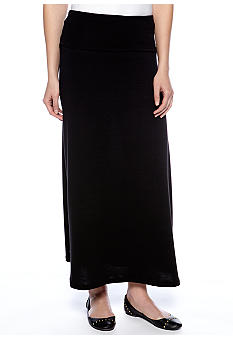 Living Doll Solid Fold Over Maxi Skirt