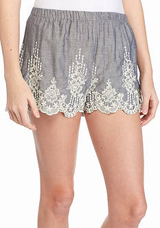 Living Doll Embroidered Hem Chambray Shorts