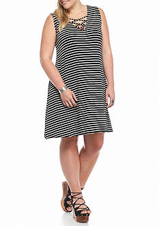 Living Doll Plus Size Striped Lace-Up Dress