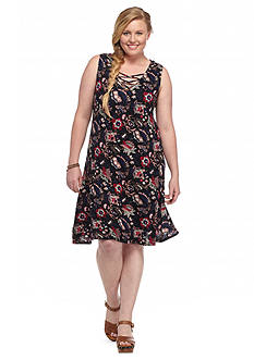 Living Doll Plus Size Floral Lace-Up Dress