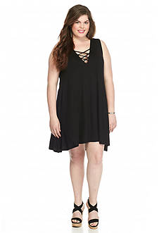 Living Doll Plus Size Lace-Up Tank Dress