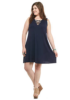 Living Doll Plus Size Lattice Dress