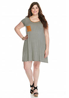 Living Doll Plus Size Suede Trim Striped Dress