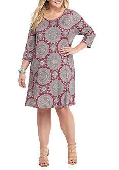 Living Doll Plus Size Print Lattice Swing Dress