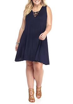 Living Doll Plus Size Lattice Swing Dress