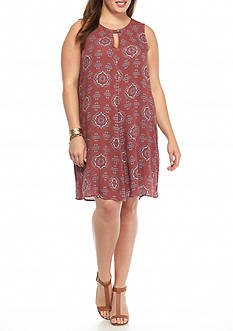 Living Doll Plus Size Medallion Print Dress