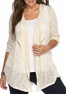 Living Doll Plus Size Lace Back Chiffon Hem Sweater