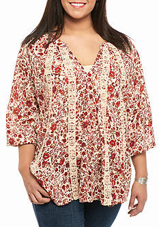 Living Doll Plus Size Floral Print Top With Crochet Insets