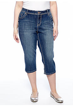 Zana-Di Jeans Plus Size Zigzag Pocket Cropped Jean
