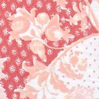 Plus Size Blouses: Posh Coral Kim Rogers Plus Size Printed Roll Tab Top