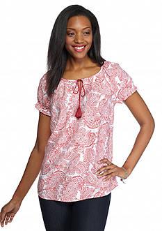 Kim Rogers Paisley Print Tie Neckline Peasant Shirt