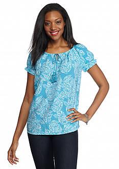 Kim Rogers Leaf Print Tie Neckline Peasant Shirt