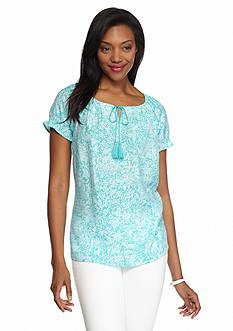 Kim Rogers Paisley Print Tie Neck Peasant Shirt