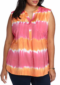 Kim Rogers Pluss Size Sleeveless Tie-Dye Top