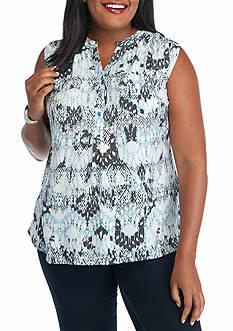 Kim Rogers Plus Size Sleeveless Woven Printed Top