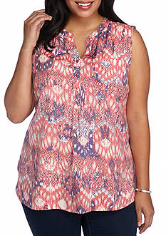 Kim Rogers Plus Size Sleeveless Woven Printed Top