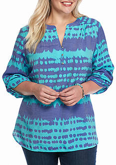 Kim Rogers Plus Size Three Quarter Sleeve Printed Blouse