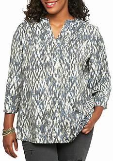 Kim Rogers Plus Size Three Quarter Sleeve Printed Blouse