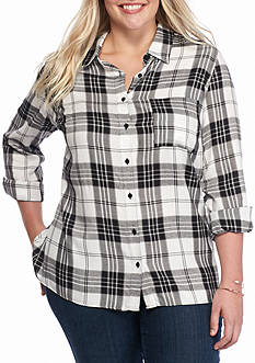 Kim Rogers Plus Size High Low Plaid Shirt