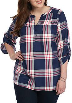 Kim Rogers Plus Size Plaid Tunic Top