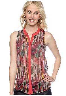 Jack by BB Dakota Lava Print Button Front Blouse
