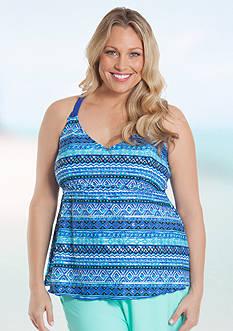 Beach Diva Plus Size Macrame Babydoll Tankini
