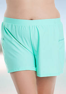 Beach Diva Plus Size Side Zip Pocket Shorts