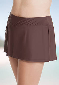 Beach Diva Plus Size Solid Side Zip Pocket Skortini