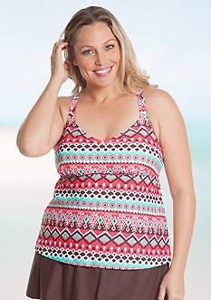 Beach Diva Plus Size Tribal Groove Tankini