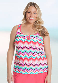Beach Diva Plus Size Chevron Oasis Placket Tankini