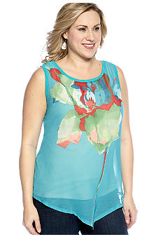 New Directions Weekend Plus Size Knit/Woven Asymmetrical Tank