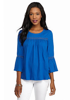 New Directions Weekend Textured Bell Sleeve Top
