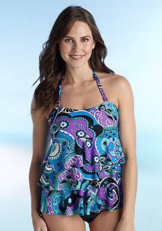 Island Waves Good Vibes Ruffle Tiered Bandokini