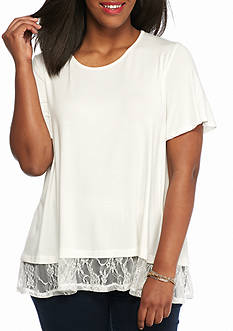 New Directions Plus Size Lace Trim Top