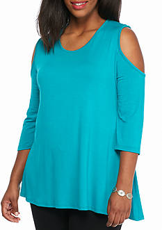 New Directions Plus Size Cold Shoulder Swing Top