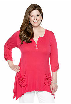 New Directions Plus Size Shark Bite Henley Top