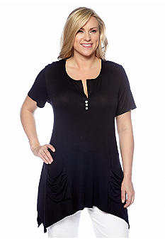 New Directions Plus Size Solid Shirt with Double Front Pockets
