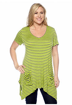 New Directions Plus Size Striped Shirt with Double Front Pockets