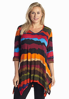 New Directions® Plus Size V-Neck Ombre Sharkbite Tunic