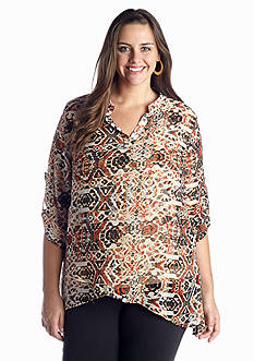 New Directions® Plus Size Tribal Printed Hi-Lo Top