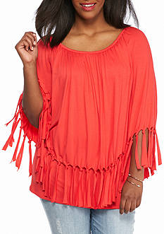 New Directions Plus Size Fringe Poncho Top
