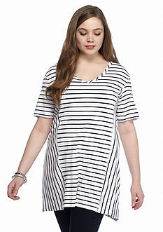 New Directions Plus Size Pieced Stripe Tunic