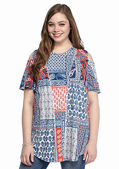 New Directions Plus Size Cold Shoulder Patchwork Top