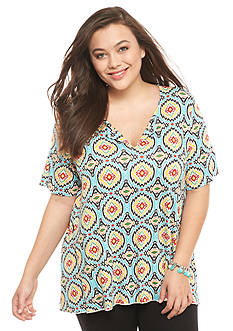 New Directions Plus Size Medallion Print Top