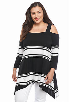 New Directions Plus Size Cold Shoulder Striped Top
